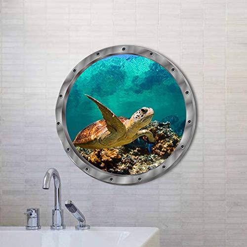 HBOS 3 Stücke Gefälschte Fenster Wandaufkleber Unterwasser Schildkröte Schöne Ansicht Selbstklebende Entfernbare Aufkleber Wandbild Dekoration für Schlafzimmer Wohnzimmer Klassenzimmer (Unterwasser-schlafzimmer)
