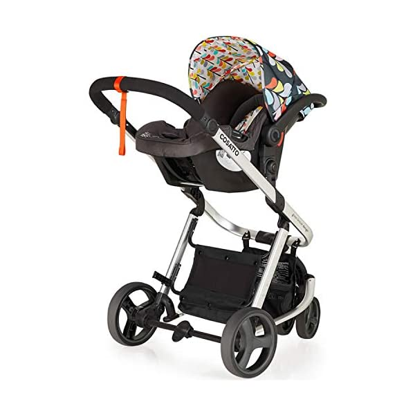 Cosatto Giggle Mix pram and Pushchair Nordik with car seat Base & raincover Cosatto Includes: Chassis,Seat unit, Hold Car seat,Isofix base,Car seat adaptors,Raincover, Apron and 4 Year guarantee(UK and Ireland only) Suitable from birth up to 15kg. One unit transforms from newborn pram mode into pushchair mode. Space saving. No need to buy separate carrycot.. Colour packs available so you can change the look to suit your mood, family and adventures. Includes hood, pram apron and padded pushchair apron. 8