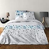 LINGE USINE Parure de draps Rose Bleu pour lit de 140 x190 cm 4 Pieces