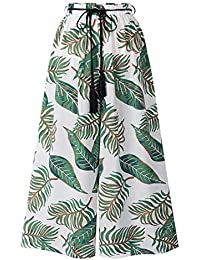 a6fb78c5ec87 LAEMILIA Pantalon 7 8ème Femme Large à Imprimé Floral Taille Haute avec  Lanière Léger Casual