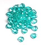 SiDeSo® Dekosteine Herzdiamanten Herzen 100 Stück viele Farben Acryl Tischdeko Streudeko Hochzeit (mint)