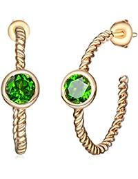 hutang Jewelry 925Sterling Silber Natur Chrom Diopsid Twist Hoop Ohrringe Gelbgold über Damen Feine Schmuck