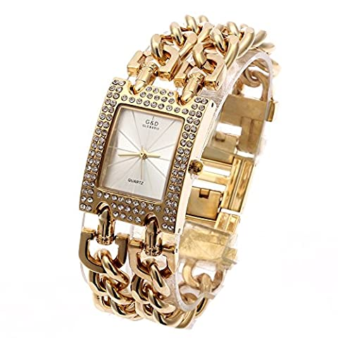 Sheli Fashion Trend Chain Links Gold Tone Crystal Bezel Small Gold Bangle Watch for Woman Wedding