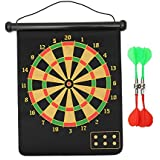 SAHNI SPORTS Roll-up Magnetic Dart Board, Double Sided Hanging with (4 PCS Flights, 17 Inches)