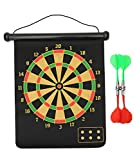 #3: Sahni Sports 17 inches Roll-up Magnetic Dart Board, Double Sided Hanging Dart Board with 4 PCS Dart Flights