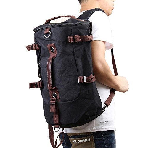 PsmGoods Portable Canvas Backpack Rucksack Travel Outdoor Laptop Hiking Luggage Gym Satchel Bag Duffle (Black-x7) (Duffle Laptop Bag)
