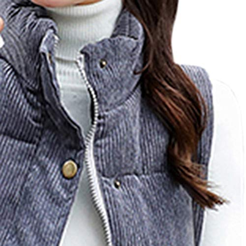 Damen Jacke Weste Ladies' Vest Outdoor Pocket äRmellos Lange Mantel Mit Stehkragen Steppjacke Oberbekleidung Frauen Winter Ultraleicht Mode Bequem Streetwear Leichtes Steppweste(Grau,M)