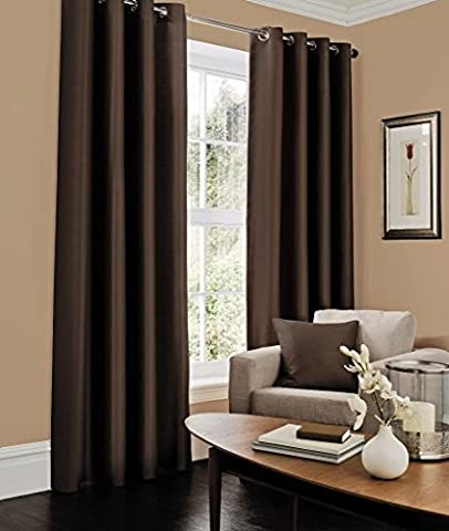 Faux silk fully lined ready made plain eyelet curtains with tie back (Chocolate, 66