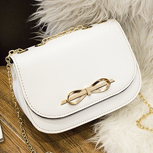 PU Ledertasche Damen Bowknot umhängetasche Handtasche Satchel Messenger Purse Tasche Schwarz Weiß