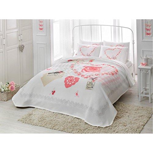 Queen Gesteppte Tagesdecke (Doppelbett/Queen Love Pink 100% Baumwolle Bettwäsche Gesteppt Tagesdecke/Überwurf Set 4PCS)