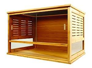 REPTILES PLANET Terrarium en Bambou naturel imputrescible 80 X 40 X 40 H cm