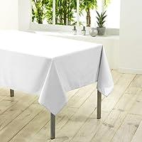 Douceur d'Intérieur 1720194  Nappe Rectangulaire Polyester Uni Essentiel Blanc 140 x 200 cm
