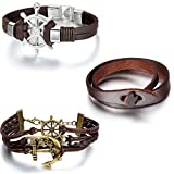 Aroncent 3pcs Handmade Adjustable Rudder Infinity Love Anchor Charms Multilayer Bracelet Wristband