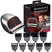 Remington Quick Cut Hair Clippers with 9 Comb Lengths Curved Blade for Rapid Hair Trimming Detailing with Storage Pouch