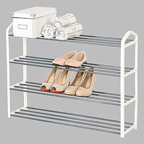 WOLTU SR0024cm4 Schuhablage Schuhregal Ablage Ständer , 4 Schicht für 16 Paare Schuhe , XXL Ständer Regale , 79x19,5x62cm , Creme