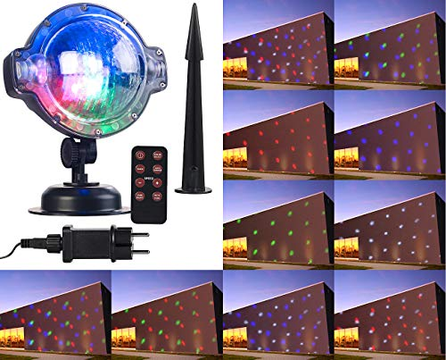 Lunartec Projektionslampe: LED-Kugellampe mit Schneefall-Effekt und Timer, weiß + RGB, IP44 (Laser-Projektor Garten) - Farb-led-laser