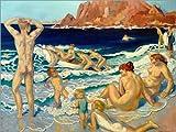 Posterlounge Forex-Platte 120 x 90 cm: Strand mit Boot und nacktem Mann von Maurice Denis/akg-Images
