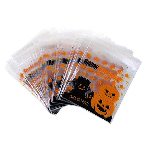 MagiDeal 100pcs Halloween Gelber Kürbis Süße Cello Cellophanbeutel Selbstklebend Geschenk Tüten Süßigkeit Keks Tasche (Kunststoff-halloween-taschen)