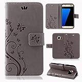 betterfon | Flower Case Handytasche Schutzhülle Blumen Klapptasche Handyhülle Handy Schale für Samsung Galaxy S7 edge Grau