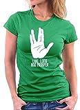 Star Trek Inspiriert Live Long woman T-shirt, Größe M, Kellygreen