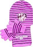 Violetta Set Mütze, Schal und Handschuhe für Kinder, rosa gestreift, original Lizenzware