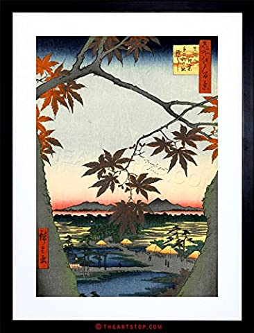 PAINTING JAPANESE WOODBLOCK MAPLE TREE MOUNTAINS FRAMED PRINT F97X4821