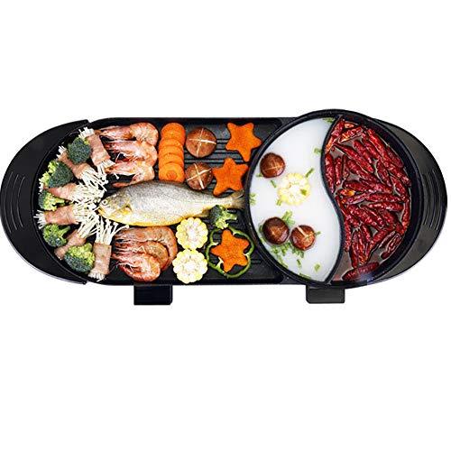 LINLIN BBQ Grill Multifunktions-Easy Cleanup-Haushalt Antihaft-Elektrogrill und Thermostat-Auffangschale 1800W Schwarz