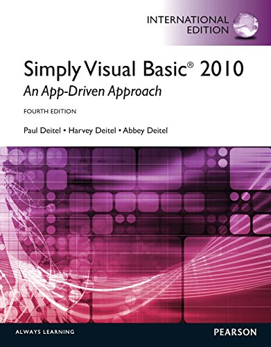 Visual Basic Deitel (Simply Visual Basic 2010: An App-Driven Approach: International Edition)