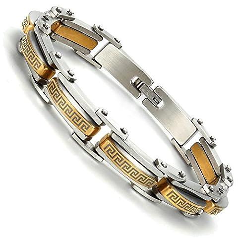 Industrial Greek Pattern 316L Stainless Steel Link Cuff Bracelet for Men (Gold, Silver)