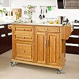 SoBuy® Luxus-Küchenwagen aus hochwertigem Bambus mit Edelstahlarbeitsplatte