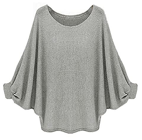 Longwu Womens Casual Oversized Batwing Loose Sweater Knitted Pullover Top Grey