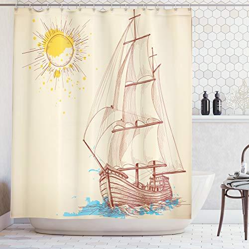 ABAKUHAUS Duschvorhang, Seemuster eines Segelboots im Windigen Meer mit Gespritzter Kreuzender Gallen Schiff Creme Farbe, Wasser und Blickdicht aus Stoff mit 12 Ringen Schimmel Resistent, 175 X 200 cm (Wc-creme-farbe)
