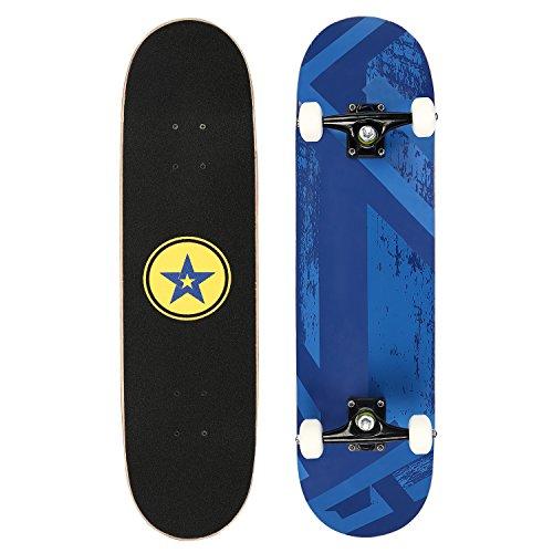 Skateboard Mini Komplettboard 78.7x 20cm mit ABEC-11 Kugellager Funboard für Kinder, Jugendliche und Erwachsene, Blau