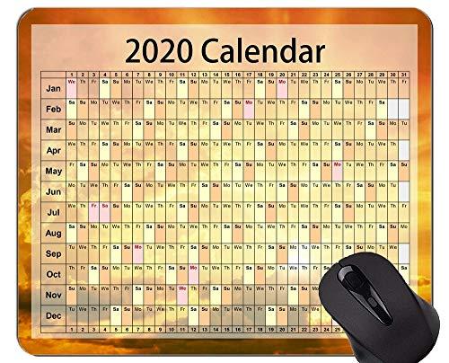 Yanteng Tappetino per Mouse da Gioco Calendario 2020 Anni Tappetino per Mouse da Ufficio a Tema Cielo misterioso e Personalizzato