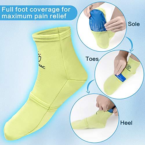 MEDICMAC Socken für Heiß- und Kalttherapie mit austauschbaren Gel Packs und Kompressionsriemen - Wohltuende Linderung für Neuropathie, Gicht, Fußschmerzen und Verstauchungen (für alle Größen) -