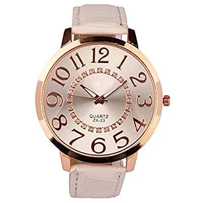 Sanwood Unisex Big Numerals Rhinestone Faux Leather Wrist Watch