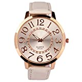 Sanwood Unisex Big Numerals Rhinestone Faux Leather Wrist Watch (White)