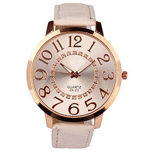- 51ZSKlvQi1L - Sanwood Unisex Big Numerals Rhinestone Faux Leather Wrist Watch (White)