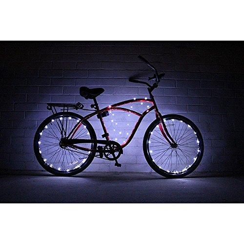 Guirlande Lumineuse 20 LEDs pour la Roue de Vélo Bicyclette, Lampe LED Imperméable Décorative pour Décorer le Vélo (Blanc)