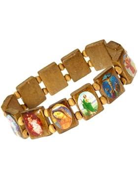 Neptune Giftware Versehen Sie mit Gummiband Hölzerne Heilige Armband / Jesus Armband / Alle Heiligen Armband - C