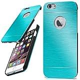 moex iPhone 6S | Hülle Dünn Türkis Aluminium Back-Cover Schutz Handytasche Ultra-Slim Handy-Hülle für iPhone 6/6S Case Metall Schutzhülle Alu Hard-Case