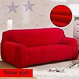 Anti-rutsch Elastische schutzhülle,Plüsch Volltonfarbe sofabezug,Winter Dicker Surefit stretch Möbel-protector für 1 2 3 4 kissen sofa Ledersofa Schmutzabweisend Couch-abdeckungen- Big Red Sofa