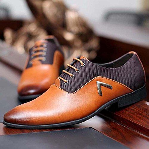 wenjhen Herren Formale Kleid Lace Up Schuhe, UK6, schwarz gelb