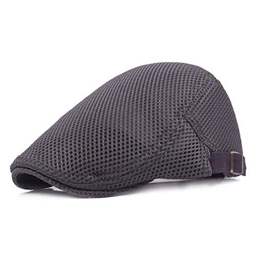 RICHTOER Men Breathable Mesh Summer hat Newsboy Beret Ivy Cap Cabbie Flat Cap (Grey) Irish Mesh-hut