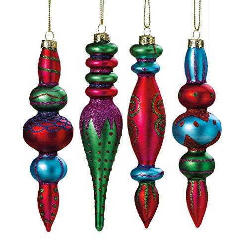 Bunte Hänger Zapfen 4 Stück H15cm Glas Ornamente Mix Weihnachten Christbaumschmuck (Eiszapfen-glas-ornamente)