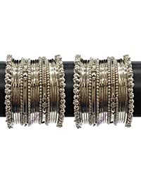 487ec415ea36 YouBella Jewellery Traditional Silver Plated Oxidized Bracelet Bangles Set  for Girls and Women