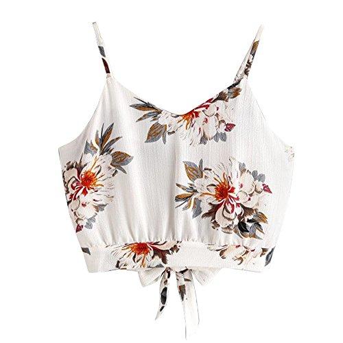 JMETRIC Frauen frisch und modisch trägerlosen V-Ausschnitt mit Blumendruck kleine Leibchen