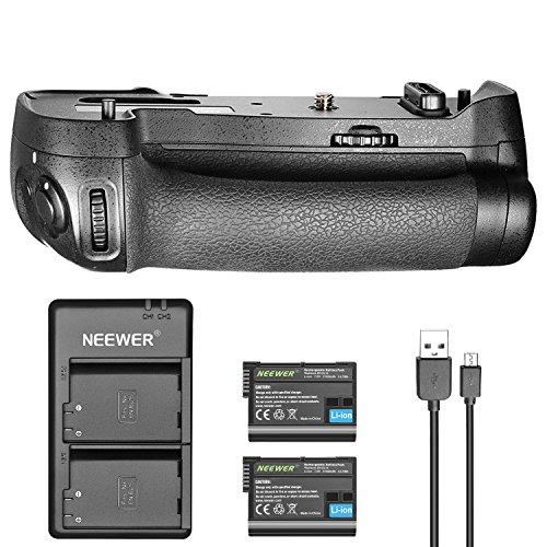 Neewer Ersatz Batteriegriff für Nikon MB-D17 für Nikon D500 mit 2er Pack 7,0V 2100mAh Nikon EN-EL15 Wiederaufladbarer Lithium-Ionen-Akku und Dual-Ladegerät (Schwarz)