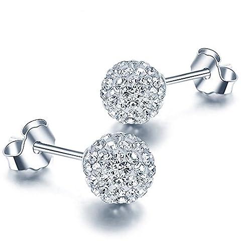 Unendlich U 925 Sterling Silber 8mm Österreichische Kristallkugel-Ohrstecekr Ohrringe Geschenk für Damen/Mädchen Geschenk