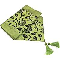 WINOMO Dining Tablecloth of European Style Furniture for the home Fabric Art Flock Lined Table Flag Of 200x 30cm (Green)